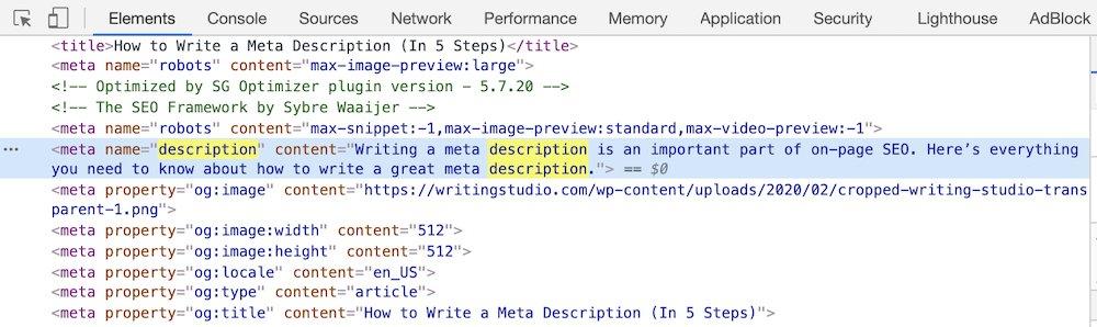 meta description html attribute